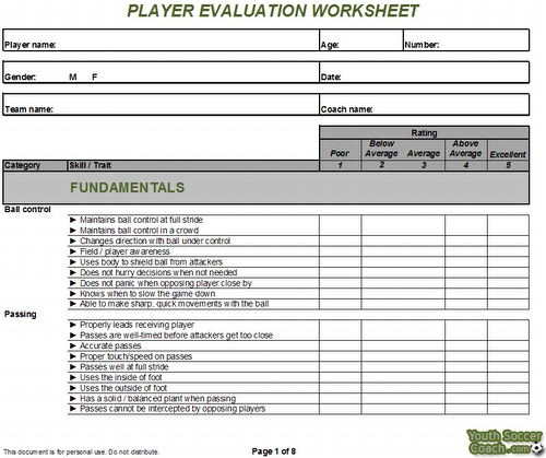 Soccer Tryouts Worksheet